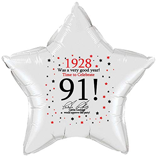 1928-91st Birthday Star Balloon (Each) by Partypro