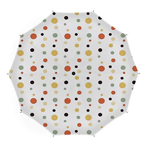 Folding Umbrella,Geometric Circle Decor,for Women Men Vinyl Anti-UV Lightweight 45 Inch,Big and Small Circle Spread in Different Tones Artsy Spots Fun -