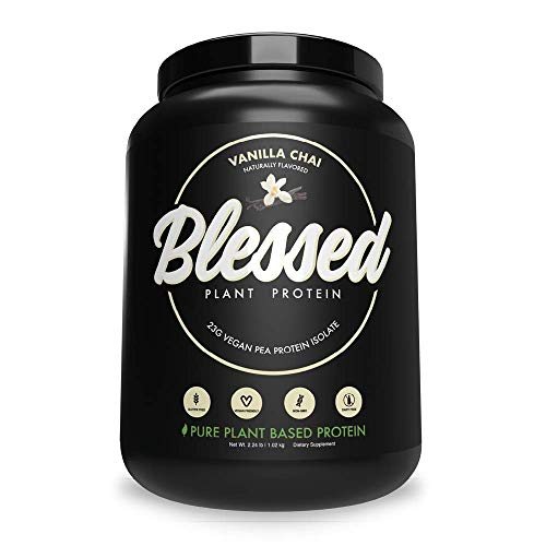 BLESSED Plant Based Protein Powder – 23 Grams, All Natural Vegan Protein, 2 Pounds, 30 Servings (Vanilla Chai) 1