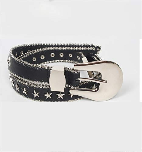 Lostryy Ladies Rivet Stud Belt/European-American pin Buckle Star-Studded Belt/Metal Multi-Strap Decorative Belts/Multifunction Belts, B
