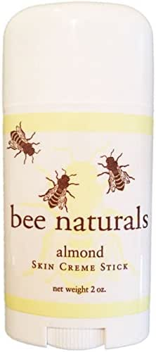 Bee Naturals Best Skin Cream Stick - Twist up Tube - TOP #1 SELLER - Solid Form Hand Lotion - Purse Size Travel Container - Smooth, Soothe and Soften Your Hands (Almond)