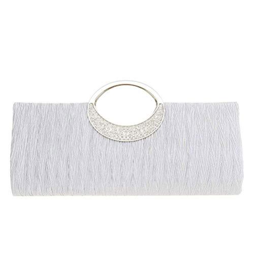 - EROUGE Womens Rhinestone Satin Pleated Handbag Luxury Wedding Party Purse Evening Clutch (White)