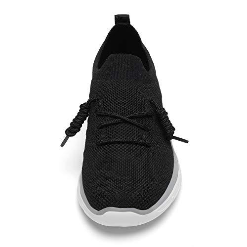 7126b02a3fc02 GM GOLAIMAN Women's Casual Walking Shoes Fashion Sneakers Flyknit Slip on  Sock Running Shoes Black 9