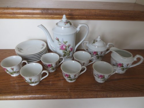 (Tea Service Marked Royal Sealy China -- Rose Pattern Teapot, Sugar, Creamer, 6 cups, 6 saucers -- Great Display in Curio Cabinet -- as shown)