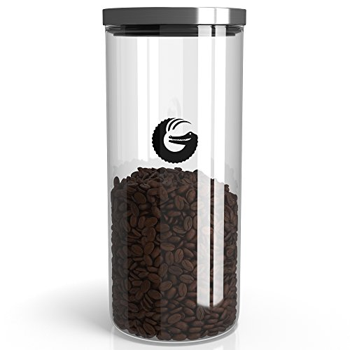 Coffee Gator Glass Storage Container – Plus Hacks eBook – Display Jar for Beans and Grounds with 'Pop and Lock' Lid – 45 Ounce, 35 Nespresso Pods (Krueger Coffee K Cups)