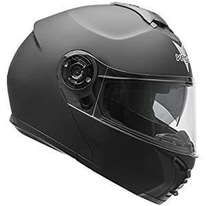 Vega Helmets VR1 Modular Motorcycle Helmet with Sunshield - DOT Certified Half to Full Face Flip Up Motorbike Helmet for Cruisers Scooter Touring Moped, Bluetooth Compat (Matte Black, Small)