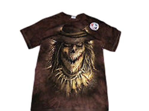 [Creepy Scary Halloween Scarecrow Mens Graphic T-Shirt Brown Large 42/44] (Scary Scarecrow)