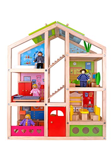(TOYSTERS Wooden Dollhouse Playset with Furniture | Adorable 6-Story Wood Doll House for Toddler Girls and Boys | Colorful Play House Encourages Imaginative Play and Improves Fine Motor Skills)