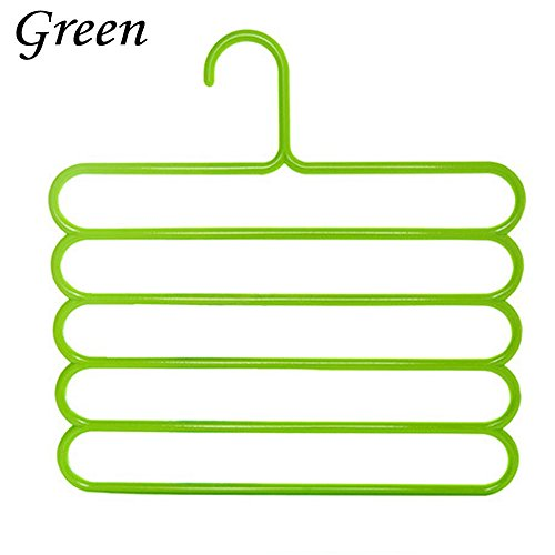 Hot 5 Layer Pants Scarf Hangers Holders Trousers Towels Clothes Apparel Hangers (Green)