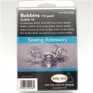 12 Pack Genuine BabyLock Bobbins(Class 15) # BLG-BOB With Plastic Storage Case (Baby Lock Rachel Sewing Machines)
