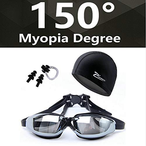 TIAN KONGSE Myopia Swimming Goggles HD Shortsighted Prescription Glasses Myopia 150 Black