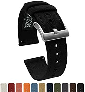 BARTON Canvas Apple Watch Bands - Black - For 42mm Apple Watch, Watch 2 & Watch 3