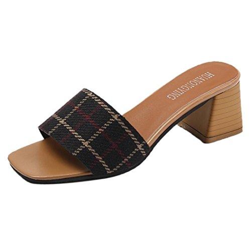 Omiky® Frauen Damen Mode Streifen Gitter Hausschuhe High Heels Sandalen Böhmen Flip Flop Schuhe Schwarz