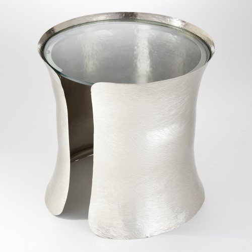 (Global Views Textured Silver Cuff Bracelet Side Table | Modern Round Metal)