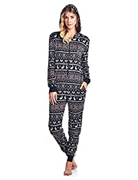 Ashford & Brooks Women's Sweater Fleece Zip Up Hooded Onesie Pajama