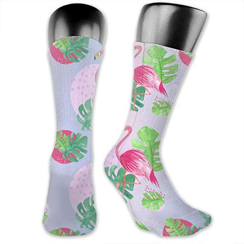 OLGCZM Flamingo and Lead Repeat Pattern Exploring Men Womens Thin High Ankle Casual Socks Fit Outdoor Hiking - Pattern Exploring