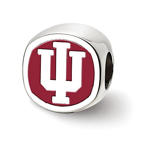 LogoArt NCAA Sterling Silver Indiana University Block IU Bead Charm