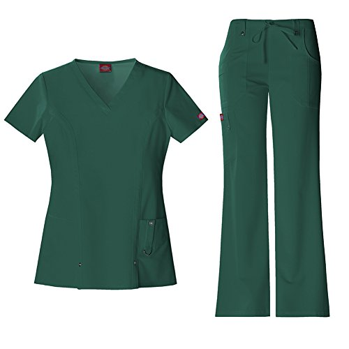 Dickies Xtreme Stretch Women's V-Neck Top 82851 & Drawstring Pant 82011 Scrub Set (Hunter - Small)