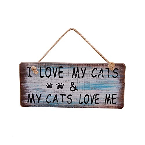 (Waroom Home Wood Wall Sign, Decorative Wooden Wall Art Decor Hanging Sign Plaque, 7.5'' x 4'' (I Love My Cats Sign))