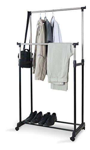 Domopak Großer doppelter Kleiderständer, Garderobenständer, Kleiderstange mit Schuhregal,