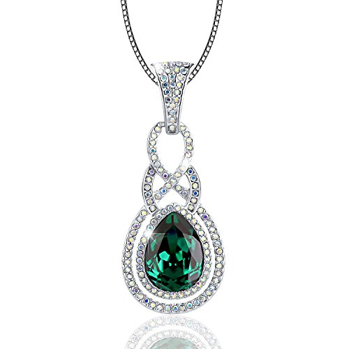 "Osiana White Gold Plated Fashion Pendant Necklace Crystal From Swarovski Elements 18""Dark Moss Green"