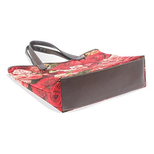 In Maniglia 002 Mano Manici Multicolor Pu Coosun L Pelle Spalla Rose 33x45x13 Della Grande Bag Cm zZSSXqt