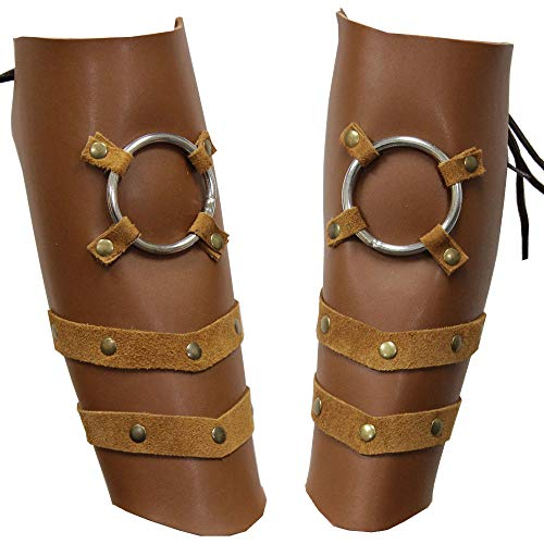 Steampunk Barbarian Laced Leather Bracers Arm Guard Steel Ring Protector Brown -