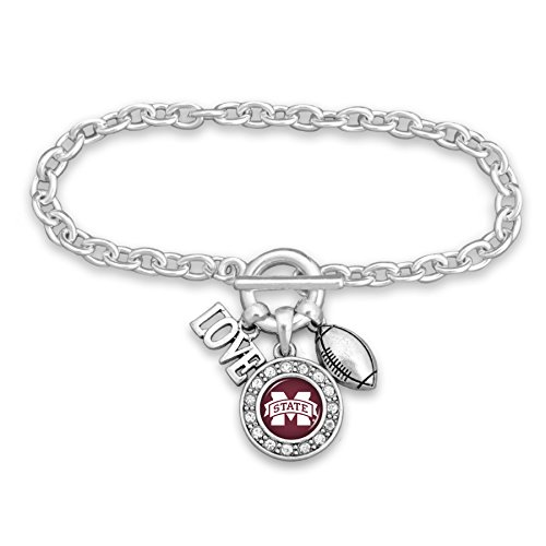 FTH Silver Tone Bracelet with a Football Charm and Round MSU Logo