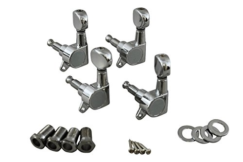 Machine Heads (Lefts Only), Enclosed Gear, Chrome Finish, Four Pack by Folkcraft Custom