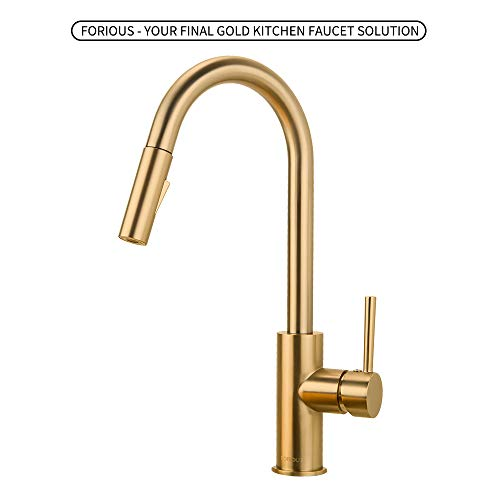 Gold Kitchen Faucet with Pull Down Sprayer, Kitchen Faucet Sink Faucet with Pull Out Sprayer, Single Hole and 3 Hole Deck Mount, Single Handle Copper Kitchen Faucets, Champagne Bronze, FORIOUS ...