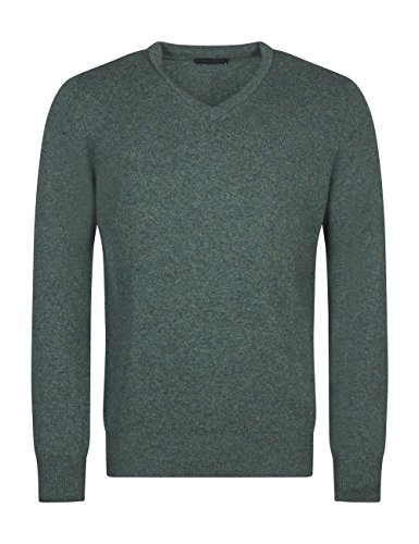 Great & British Knitwear Men's HM100 100% Lambswool V Neck Sweater. Made in Scotland-Fern-X-Large ()
