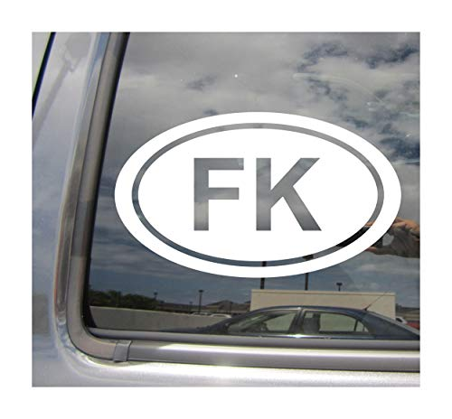 - FK The Falkland Islands Country ISO Code Oval Euro Style - Abbreviation Stanley British Overseas Territory Cars Trucks Helmet Auto Automotive Craft Laptop Vinyl Decal Store Window Wall Sticker ()