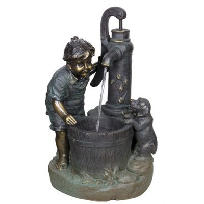 Beckett Corporation Boy and Pump on a Summer Day Fountain with Pump, Brown by Beckett Corporation