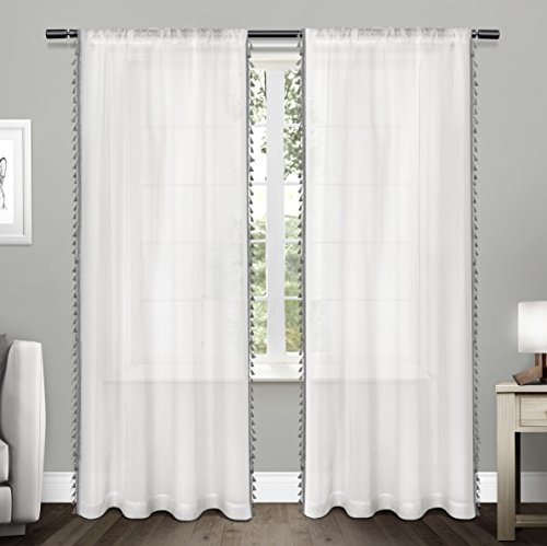 Exclusive Home Tassels Applique Bordered Textured Sheer Window Curtain Panel Pair with Rod Pocket 54x84 Black Pearl 2 Piece