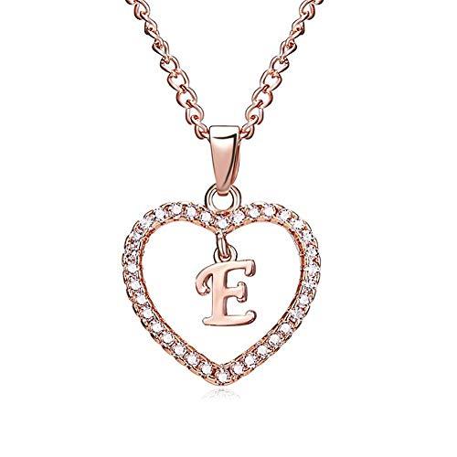 New Women Letters Pendant Necklace FAVOT Creative 26 Letters Rhinestones Heart Cutout Choker Sweater Chain Jewelry Accessories (Style-e)