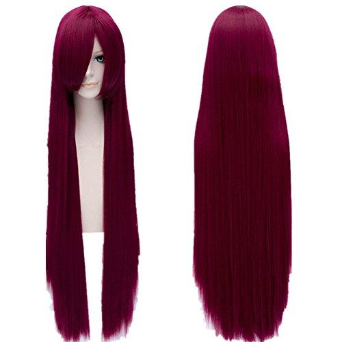 [Makise Kurisu Wig Steins Gate Anime Long Straight Wine Red Bang Wigs] (Kurisu Makise Cosplay Costume)