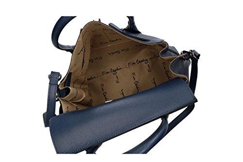 184ba37399f96 Tasche Damen mit Schultergurt Pierre Cardin Blau Leder Made in Italy VN166  ...