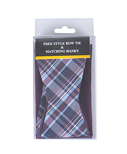 - Plum/Black/Blue Stripe Free Style Bow Tie & Matching Hanky