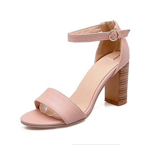 VogueZone009 Damen Schnalle Offener Zehe Hoher Absatz PU Leder Sandalen Pink