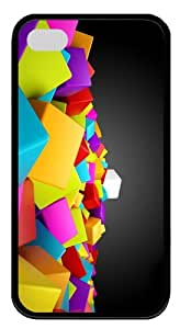 Iphone 4 4S Cases- 3D Colored Cubes TPU Rubber Silicone Case Cover for iPhone 4 and iPhone 4s - Black