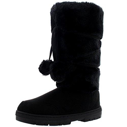 Womens Warm Lined Boots (Womens Pom Pom Tall Rain Snow Winter Flat Warm Lace Up Boots - 8 - BLA39 EA0330)