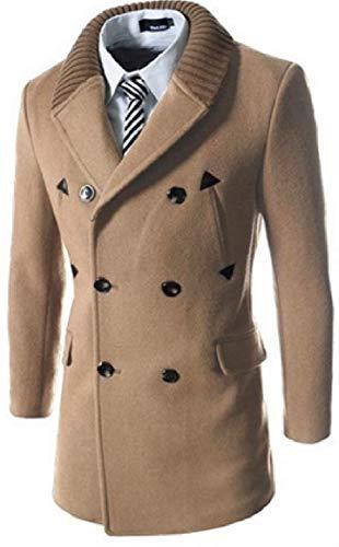 RkBaoye Men Double-Breasted Mid Length Knit Turn-Down Collar Woolen Overcoat 1