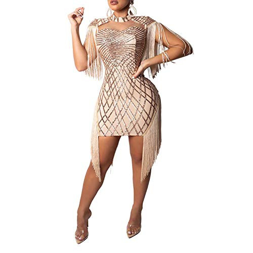 Sprifloral Club Dresses for Women Sleeveless Sheer Mesh Glitter Cocktail Dress Beige S