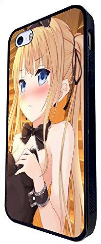 1025 - Cool Fun Cute Sexy Manga Art Cartoon Kawaii School Girls Bunny Girl Dress Up Japanese Design iphone SE - 2016 Coque Fashion Trend Case Coque Protection Cover plastique et métal - Noir