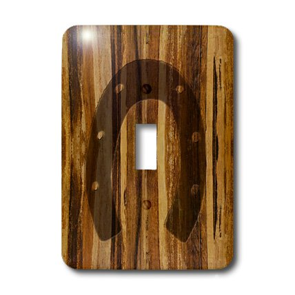3dRose lsp_25392_1 Branded Wood Print Horseshoe Toggle Switch -