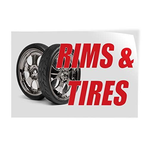 Decal Sticker Multiple Sizes Rims & Tires Auto Car Vehicle Automotive Rims Tires Outdoor Store Sign White - 30inx20in, Set of 10