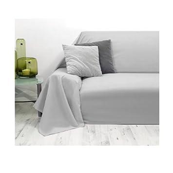 Light Grey Blanket Bed Sofa Throw Cover Vaganca 140 x 210cm