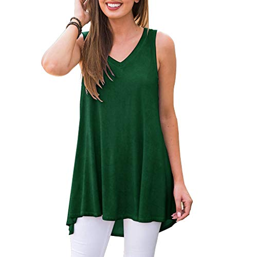DAYPLAY Women Summer Sleeveless Solid V-Neck T-Shirt Tunic Tops Blouse Shirts 2019 Womens Clothes Sale Green