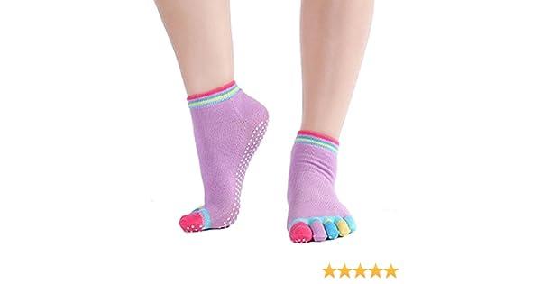 Cosanter Corto Antideslizante Calcetines de Cinco Dedos Calcetines Yoga de Algodón Orgánico para Yoga Pilates y Gimnasia con Masaje de Grano.