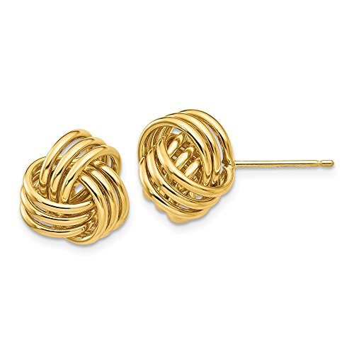 14k Yellow Gold Polished Love Knot Post Earrings (0.4IN x 0.4IN ) by Jewelry Pot